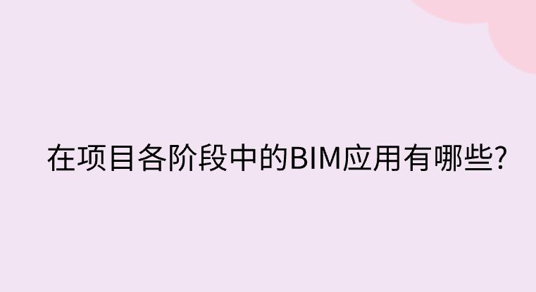 在项目各阶段中的BIM应用有哪些?